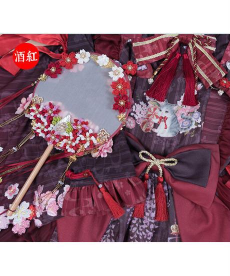「紫藤の猫~春空幻夢」お花うちわ ※お洋服と合わせ買いの方のみ※【3/14まで】