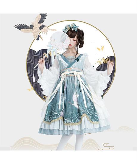「風鶴」ワンピース&バレッタ セット