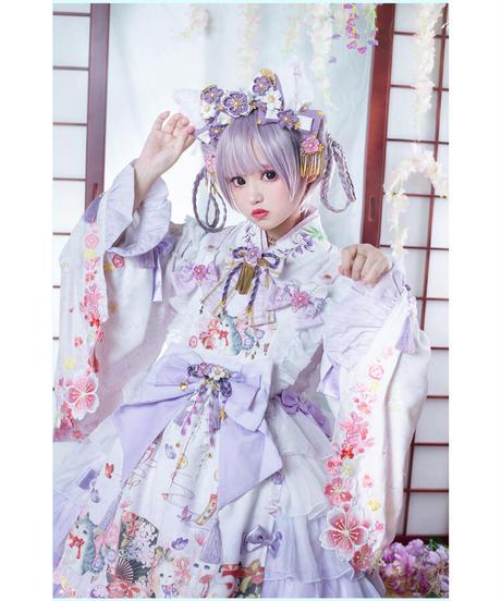「紫藤の猫~春空幻夢」飾りピン / お花クリップ(ペア)※お洋服と合わせ買いの方のみ※【3/14まで】