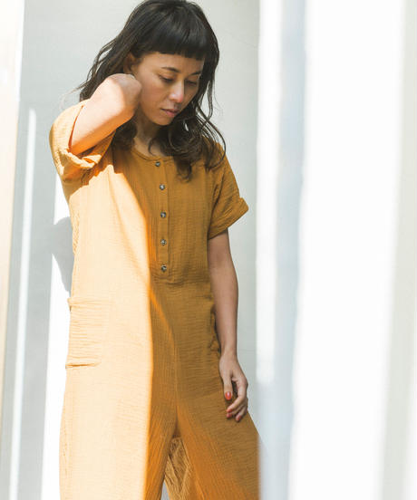 DOUBLE GAUZE COTTON ROMPERS/  color ;amber