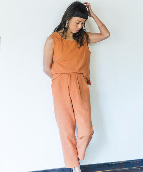 DOUBLE GAUZE COTTON TAPERED  /color; marmalade