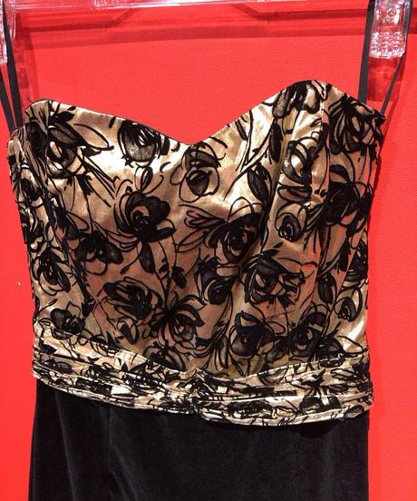 【USED 古着】80年代 ブラック&ゴールドベルベットビスチェドレス AM15295106-18