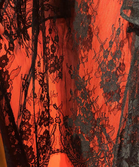 【USED 古着】90年代ブラックレース着物スリーブガウン AM15295106-15