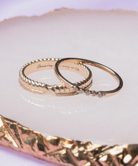 w texture ring【K10 GOLD】