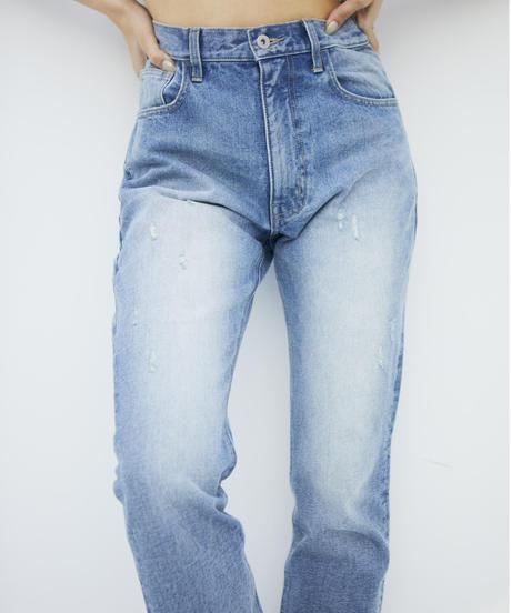 High waist Straight DENIM / LIGHT BLUE