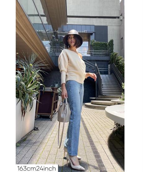 High waist Straight DENIM 【L/BLUE】