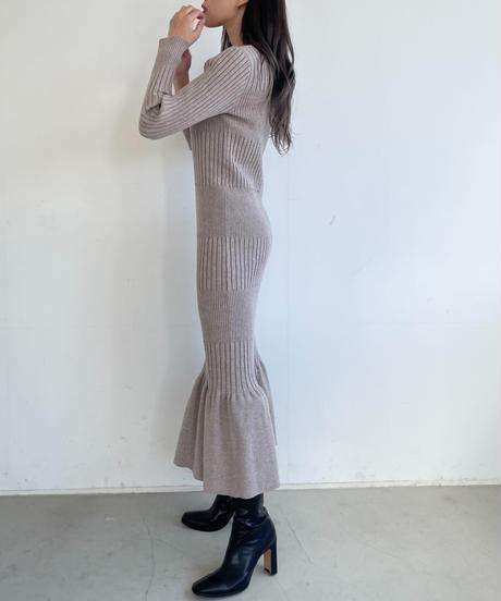 MIX RIB mermaid KNIT OP