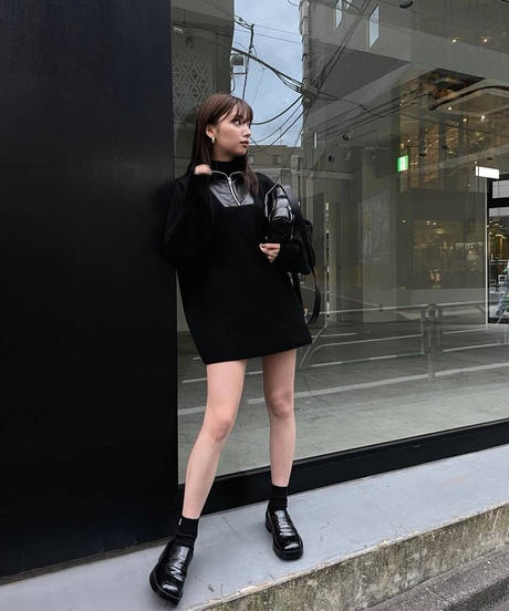 docking leather collar knit tops