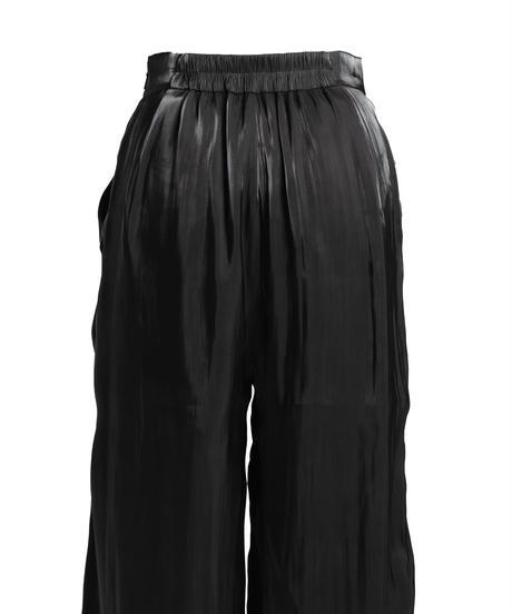 【即納】Shiny satin wide pants / BLACK