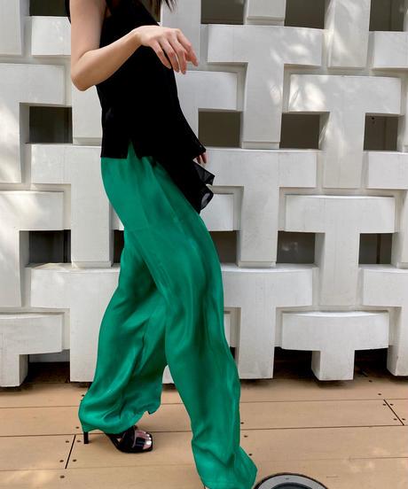 Shiny satin wide pants