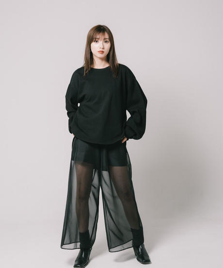 reflection long T - round / BLACK