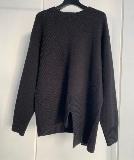 Mix Knit loose TOP / BLACK