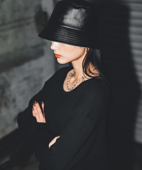 Faux leather minimal bucket Hat