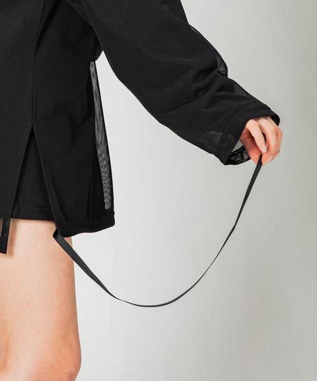 【UNISEX】Mesh Layered L/Sleeve T-shirt / BLACK×BLACK