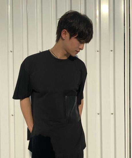 Faux leather Pocket TEE / BLACK