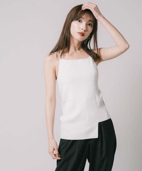 Asymmetry Knit Camisole / WHITE