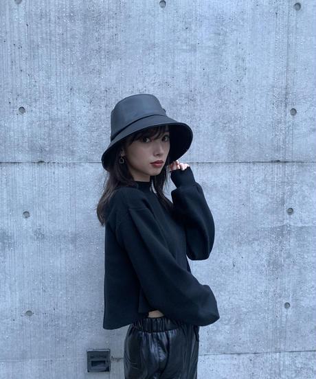 Faux leather bucket HAT / BLACK