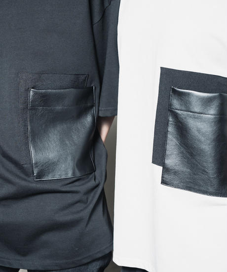 Faux leather Pocket TEE / WHITE