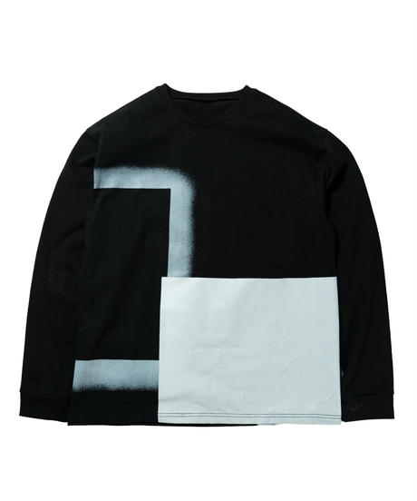 Reflection painting long Tee / BLACK