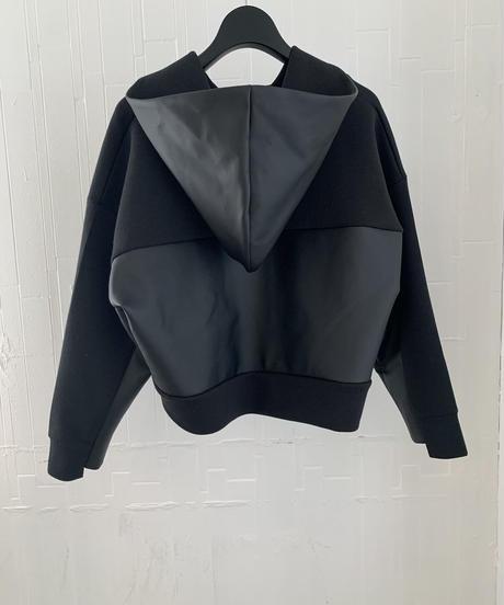 Faux Leather Short Hoodie / BLACK