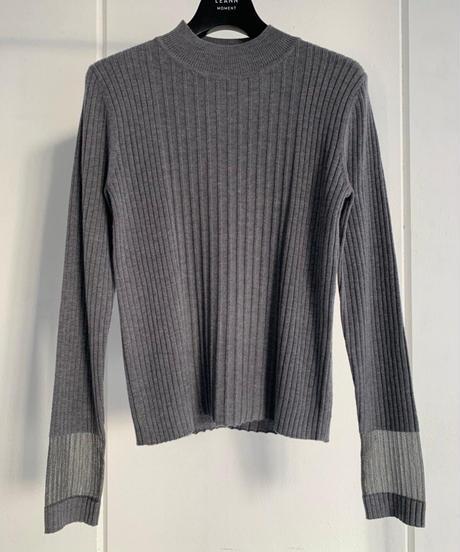 Sheer Cuff Knit TOP / GRAY