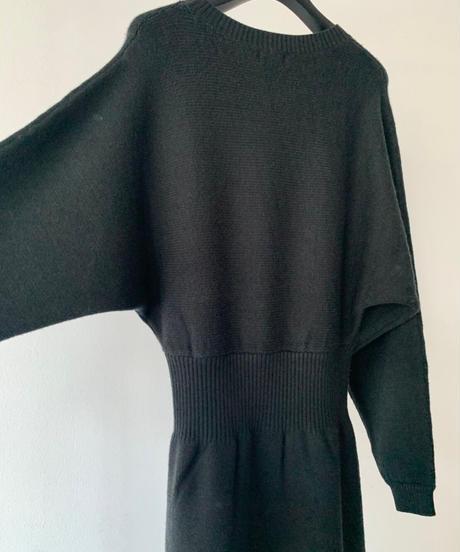 Slit Loose Knit Dress / BLACK