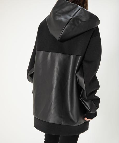 【UNISEX】Leather Pocket Hoodie