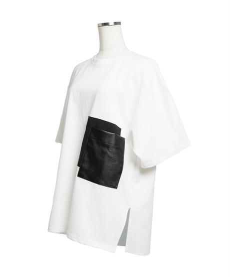 Faux leather Pocket TEE / WHITE