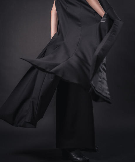 Long tailor 2way trench BLK.