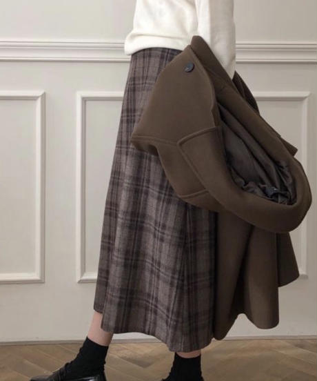《予約販売》wool blend check long skirt
