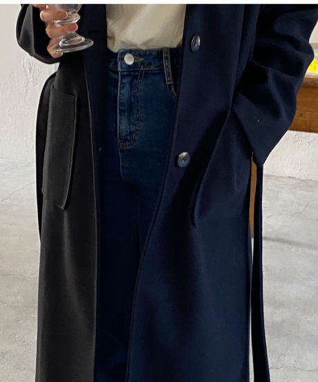 《即納》single belt long coat