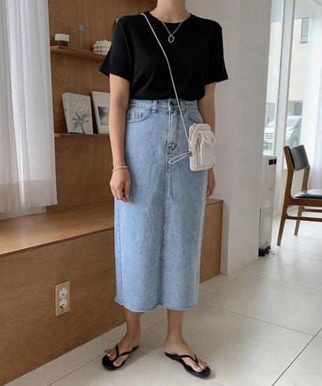 《予約販売》back slit H line long denim skirt