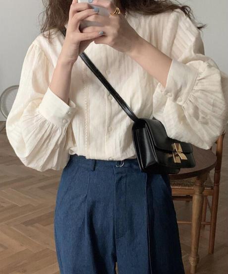 《予約販売》 cotton asymmetry collar blouse