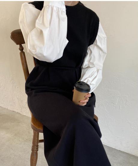 《予約販売》puff shirt knit onepiece (2color)