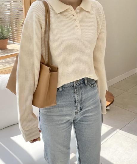 《予約販売》collar button rib knit (4color)