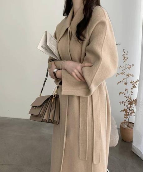 《予約販売》big collar hidden long coat (2color)