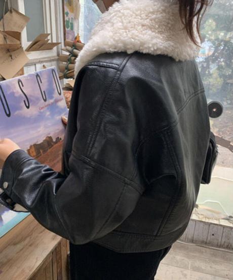 《予約販売》big collar   leather fur jacket