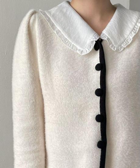 《予約販売》circle button puff cardigan (2color)