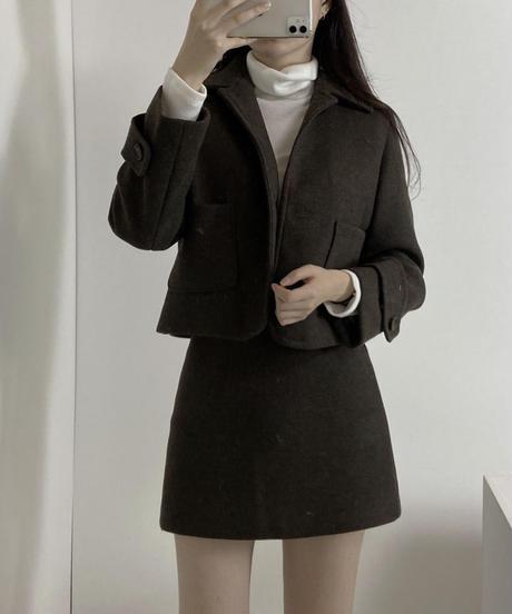 《予約販売》short wool blend jacket two-piece setup