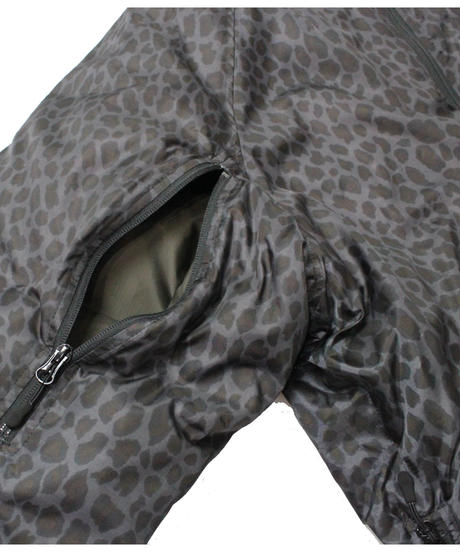 Needles C.E. DOWN JACKET POLY TAFFETA / LEOPARD PRINT - BLACK  M size