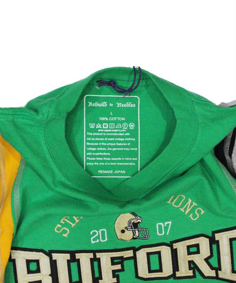 Rebuild by Needles 7 Cuts long sleeve Tee College #5 GREEN  - size L