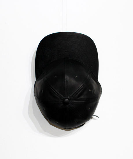 POTEN:BALL TOWN ALL LEATHER CAP BLACK