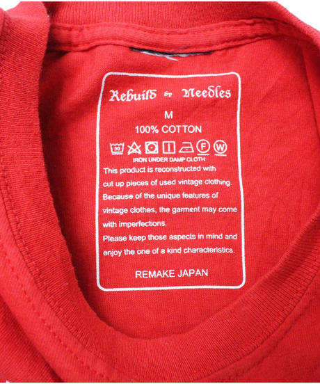 Rebuild by Needles 7Cut Tee College #6 RED  - size M