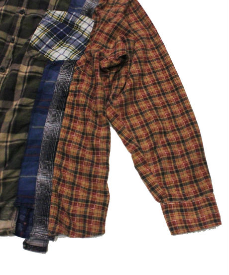 Rebuild by Needles 7 CUT Flannel Shirt KHAKI - M size #6