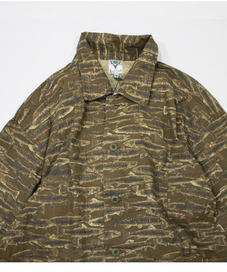 South2 West8:HUNTING SHIRT - PRINTED FLANNEL  CAMOUFLAGE - TROUT