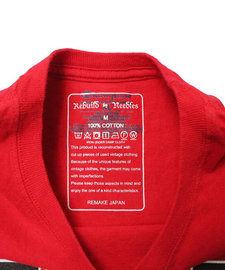 Rebuild by Needles  7Cut Tee College #5 RED - size M