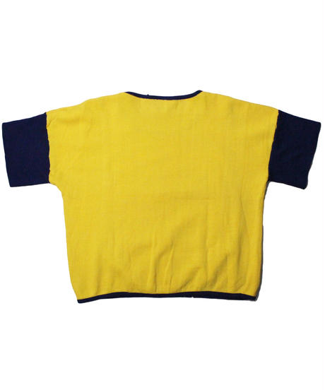COPY CAT  OLD SHORT SLEEVE SWAET COMPOSER YELLOW×NAVY  - size ASORT