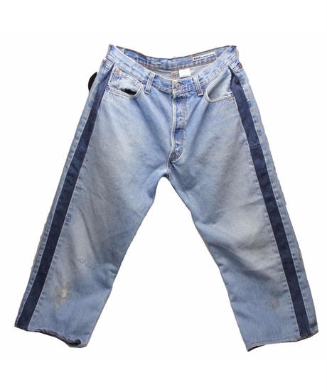 Sunny side up (サニーサイドアップ) ユーズドリメイク SIDE LINE DENIM PANTS BLUE type 3 - size 2 -