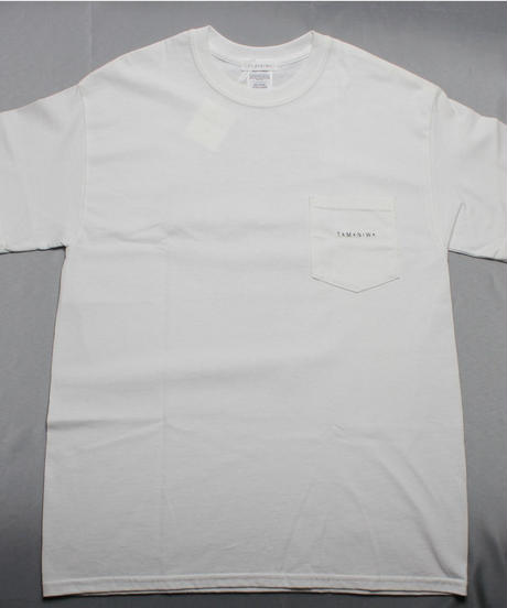 TAMANIWA:ball park pocket tee - back print logo  WHITE / GREY