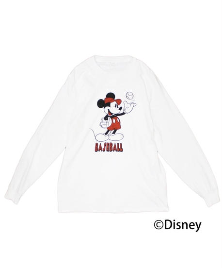 TAMANIWA: Base Ball  Long sleeve Tee  (Mickey Mouse)